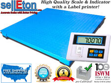 5' x 5' Floor scale with label printer indicator for warehouse 1000 lbs x .2 lb