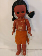 "Indian Girl Doll 13"" Jointed Native American Blink Eyes Pigtails Angel Hong Kong"