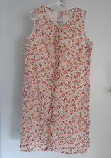 Lands End 8 Girls Dress Floral Cotton Sleeveless Lined Lining Ruffle Pink Orang