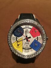 JACOB AND CO AUTHENTIC WATCH W/DIAMONDS + 5 TIME ZONES NEAR MINT CONDITION!!