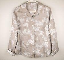 Chicos Womens Size 1 Button Up Shirt Blouse Blazer Metallic Floral Gold Silver