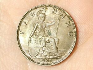 1936 British George V Farthing Coin Partial Lustre & Toned #EE6