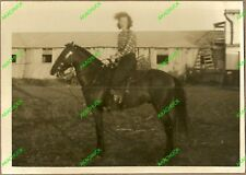 Vintage Photo FARM GIRL COWGIRL ON HORSEBACK Denim Blue Jeans Boots 1930s