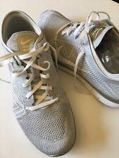 $120 Nike Free TR Flyknit 5.0 2015 Womens Running Shoe, Silver , Size 10.5