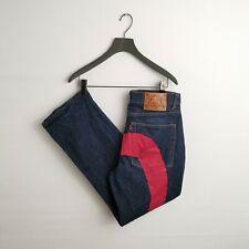 Vintage EVISU Rojo diacock logotipo Demin Jeans-W34 L30