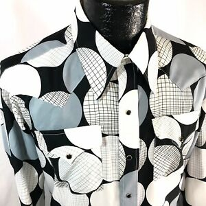Vtg 70's Wrangler White Black POLKA DOT Cowboy Western DISCO Pearl Snap Shirt XL