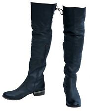 New MIA Lieutenantt Vintage Riding Gray Matte Leather Over-the-Knee Boots Size 8