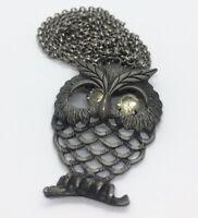 "Vintage Necklace 30"" Silver Tone Owl Bird Rhinestone Pendant Animal"