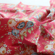 "Cotton Fabric Flower Fabric by the Yard 44"" Wide Cozy Victory Flower(Red Pink)"