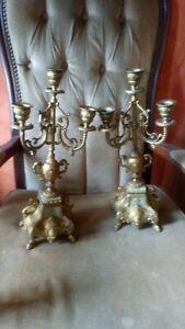 paire de chandelier ancien sur pied doré avec marbre six branches, lourd