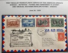 1939 Shediac Canada First Flight Airmail Cover To Sydney Australia Via Ireland