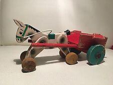 PO LA POLA Cavallino carretto legno vintage rare toy wooden toy