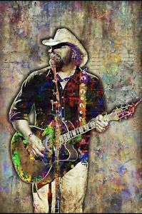 Toby Keith 12x18in Poster, Toby Keith Country Tribute Print 12x18 Free Shipping