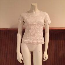 Topolino White Lace Shirt - Size: XS (estimated)