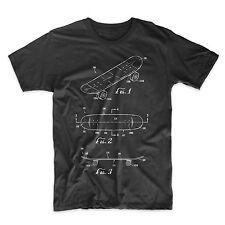 Skateboard Patent T-Shirt. Skateboarding Cotton Shirt. Black White or Gray NEW