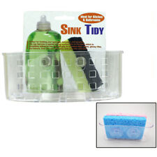 Kitchen Sink Caddy Organizer Sponge Dish Brush Holder Suction Cup Clear Plastic