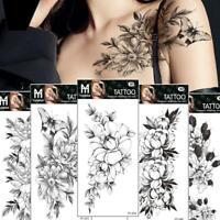 Art Sticker Waterproof Temporary Tattoo Black Sketch Fake Nice Rose Flower X2C2