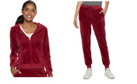 NWT Juicy Couture Velour Tracksuit Graphic Jacket and Jogger Pants Red Women M