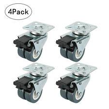 "4 x 2"" TPR Dual Wheel Heavy Duty Swivel Plate Locking Casters with Brake 551 LBs"