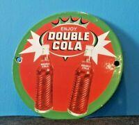 VINTAGE DOUBLE COLA PORCELAIN POP BOTTLES ENJOY SODA PEPSI COKE SIGN