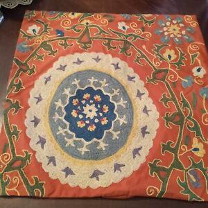 "Pottery Barn Crewel Embroidered Mandala 24"" X 24"" Pillow Cover. Beautiful!"
