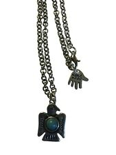 Silver Native American Thunderbird Eagle Pendant, with Faux Turquoise Detail