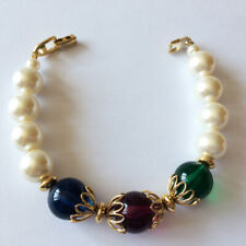 Napier Vintage Pearl & Coloured Crystal Bracelet