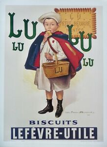 "French Art Nouveau 1897 Vintage Poster Reproduction For ""Lulu Biscuit Lefevre"