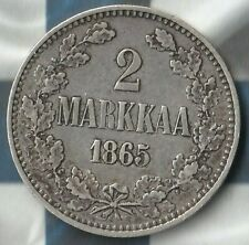 1865 Finland (Russian Empire) 2 Markkaa- 86.8% silver~Nice Details