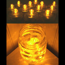Submersible Waterproof Battery LED Tea Light ~ Wedding Decoration~Amber~ 10 Pack