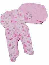 BNWT Baby Girls pink cotton deer all in one sleepsuit & jacket suit clothes