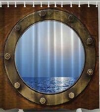 Porthole Nautical Fabric SHOWER CURTAIN Ship Boat Ocean Cruise Window Bath Decor