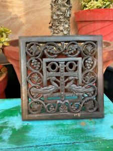 Antique Wooden Hand Carved Jali Cut Peacock Figure Wall Decor Panel Rare 1890