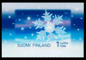 """Finland - """"SNOW FLAKE ~ CHRISTMAS 2008"""" World's First Transparent Stamp !"""