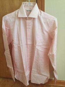NWT Mariano Rubinacci Pink/White Striped Cotton Dress Shirt (EU38) 15