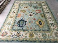 Hand knotted Tribal Oushak Fine Wool Oriental Area Rug in Blue 12x9