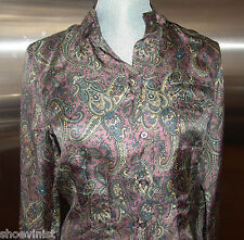 Belstaff Silk Women's Paisley Shirt Top Blouse NWT EU Size 44 Long Sleeves