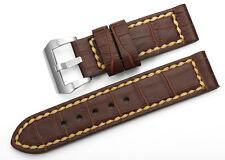 24mm Brown Handmade Genuine Alligator Grain Leather Watch Band Strap For Panerai