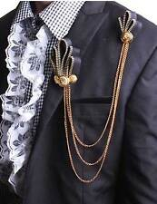Wedding Party Gold Chain Black Zip Brooch Pin Mens Groom Accessories