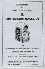 International IHC Low Tension Ignitor Magneto Gas Engine Hit & Miss Manual Book