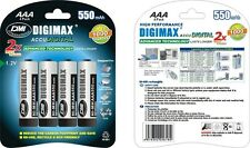 4 x AAA 550 mAh LR03 DIGIMAX RECHARGEABLE BATTERIES 2x MORE PHOTOS ACCU DIGITAL