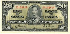 """Canada 20 Dollars 1937 UNC """"D/E"""""""