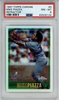 1997 Topps Chrome Mike Piazza Refractor #9 PSA 8 NM-MT *POP 3* HOF Dodgers