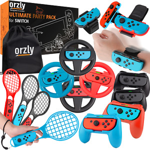 Orzly Party Pack Accessories Bundle for Nintendo Switch - Wheels, Grips, Rackets