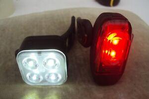 Lezyne KTV rear usb bike light & 4 led front light also usb rechargerable.