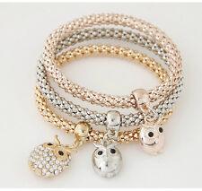 Ladies 3 Piece Rose Gold/Silver/Gold Effect Bracelet Set & Owl Diamante Charms