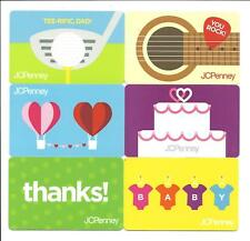 Lot (6) JC Penney Gift Cards No $ Value Collectible Balloon Guitar Golf Dad Cake
