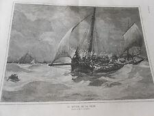 Gravure 1886 - Le retour de la Pêche d'après Gérardin