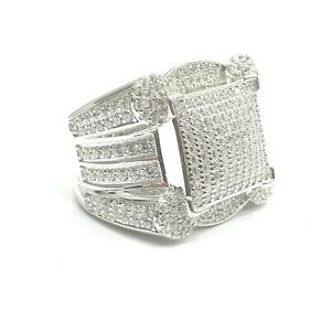 925 Sterling Silver White Gold Finish Sparkly Ice Jewlz Bling Men Big Pinky Ring