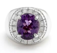 10.60 Carat Natural Amethyst and Diamonds in 14K Solid White Gold Men's Ring